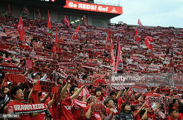 Urawa Red Diamonds supporters cheer prior to the JLeague match between Urawa Red Diamonds and FC Tokyo at Saitama Stadium on May 3 2014 in Saitama...