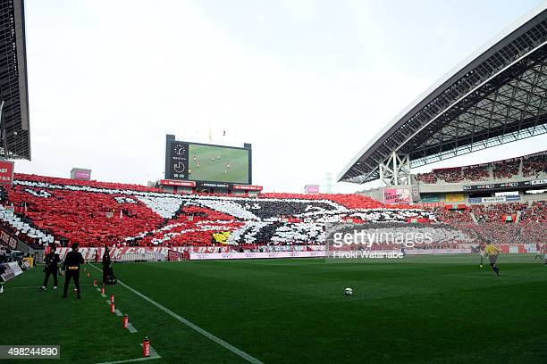 Urawa Red Diamonds supporters cheer prior to the JLeague match between Urawa Red Diamonds and Vissel Kobe at Saitama Stadium on November 22 2015 in...