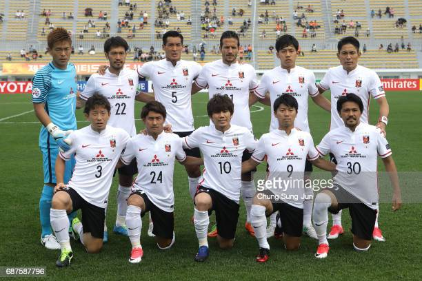 Urawa Red Diamonds team pose during the AFC Champions League Round of 16 match between Jeju United FC and Urawa Red Diamonds at Jeju World Cup...