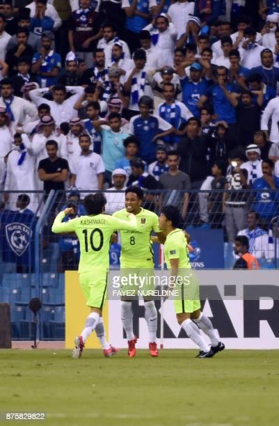 Urawa Red's Brazilian forward Rafael Silva celebrates his goal during the Asian Champions League final football match between Japan's Urawa Reds and...