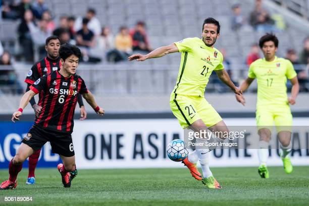 Urawa Reds Forward Zlatan Ljubijankic in action during the AFC Champions League 2017 Group F match between FC Seoul vs Urawa Red Diamonds at the...