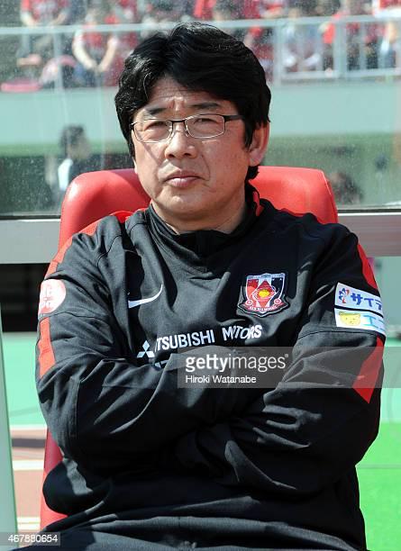 Urawa Reds Ladies head coach Yasushi Yoshida looks on prior to the Nadeshiko League match between Urawa Red Diamonds and INAC Kobe Leonessa at Urawa...