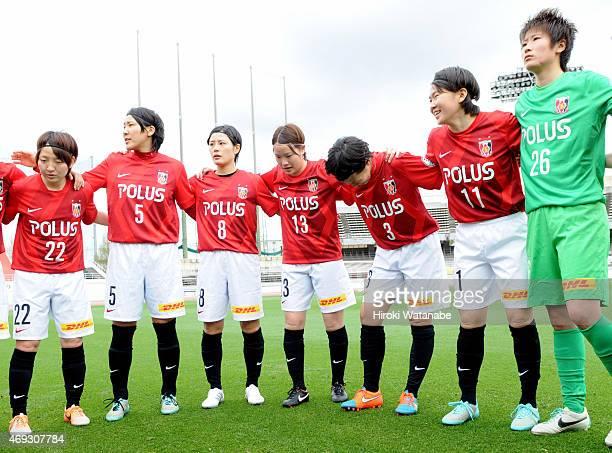 Urawa Reds Ladies players form a huddle prior to the Nadeshiko League match between Urawa Red Diamonds Ladies and AS Elfen Saitama at Urawa Komaba...