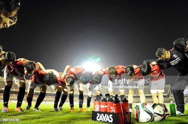 Urawa Reds Ladies players form a huddle prior to the Nadeshiko League match between Urawa Red Diamonds Ladies and JEF United Chiba Ladies at Urawa...