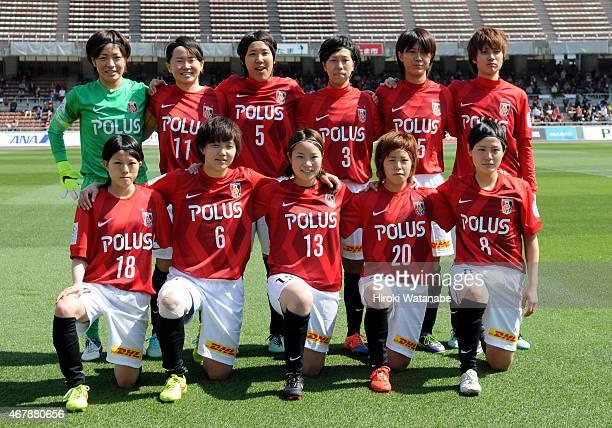 Urawa Reds Ladies players line up for the team photos prior to the Nadeshiko League match between Urawa Red Diamonds and INAC Kobe Leonessa at Urawa...