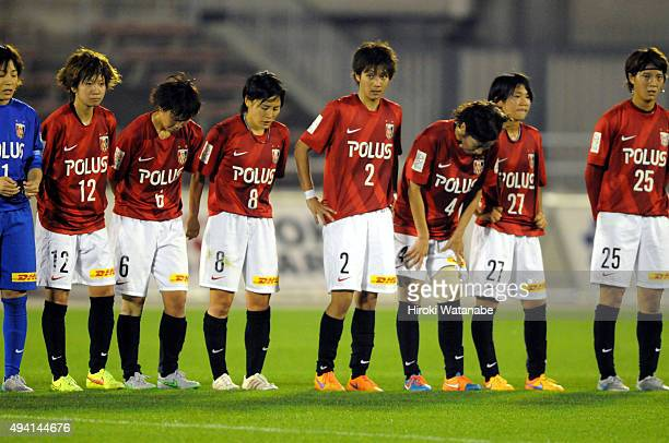 Urawa Reds Ladies players show their dejection after their 44 draw in the Nadeshiko League match between Urawa Red Diamonds Ladies and JEF United...
