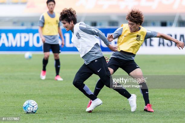 Urawa Reds Midfielder Kashiwagi Yosuke and Urawa Reds Midfielder Komai Yoshiaki during the training session prior to the AFC Champions League 2017...
