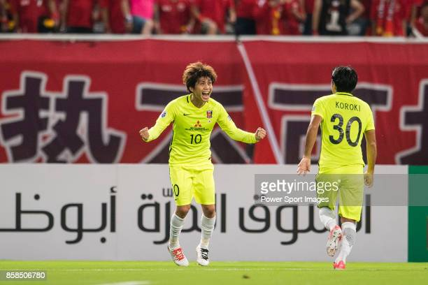 Urawa Reds Midfielder Kashiwagi Yosuke celebrating his score during the AFC Champions League 2017 SemiFinals match between Shanghai SIPG FC and Urawa...