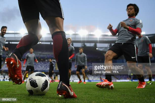 Urawa Reds warm up ahead of the FIFA Club World Cup UAE 2017 fifth place playoff match between Wydad Casablanca and Urawa Reds on December 12 2017 at...