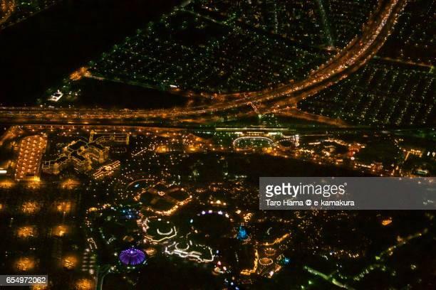 Urayasu city, night time aerial view from airplane