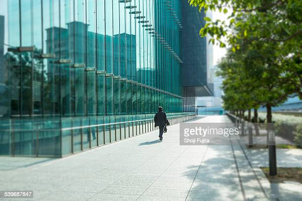 Urban abstract with office buildings and people