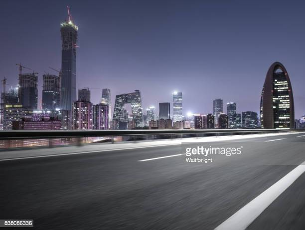 Urban asphalt road at Beijing downtown district,China.