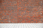 Urban background UK - Red brick wall with sidewalk