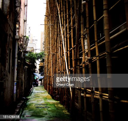 Urban bamboo scaffolding : Stock Photo