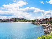 urban beach in Sozopol town - seaside resort on Black Sea coast in Bulgaria