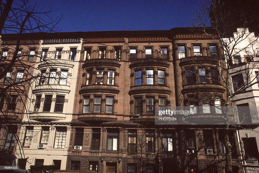 Urban brownstone houses, New York City : Stock Photo