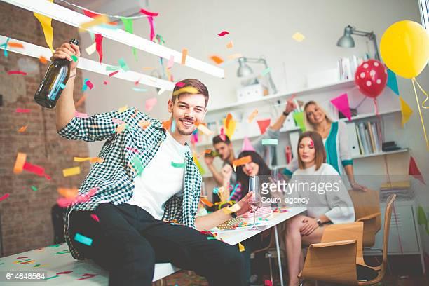 Urban businessman on a party