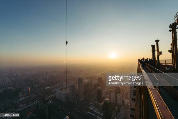 Urban construction at Sunset in Beijing