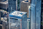 A full frame image of the skyscrapers in downtown Seattle, Washington shot during a photo flight of the city.