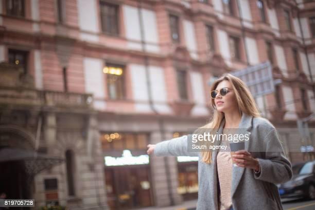 Urban girl in city