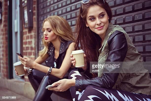 Urban Girls using smart phones