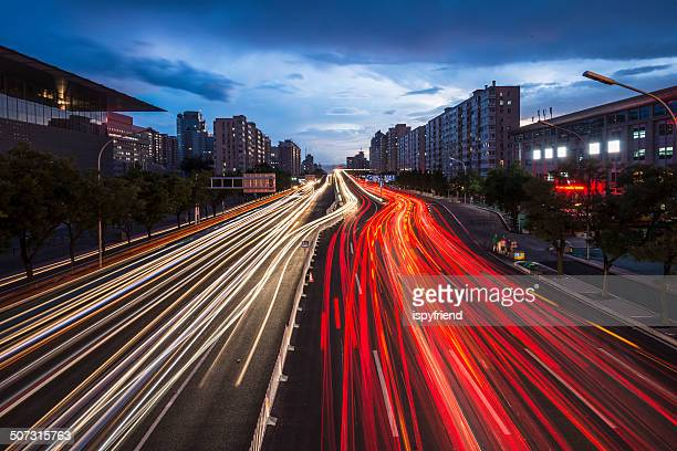 Urban highway traffic at night