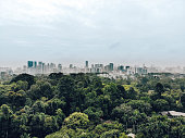 Drone shot of Botanic gardens with built up Singapore in the background. March 2018