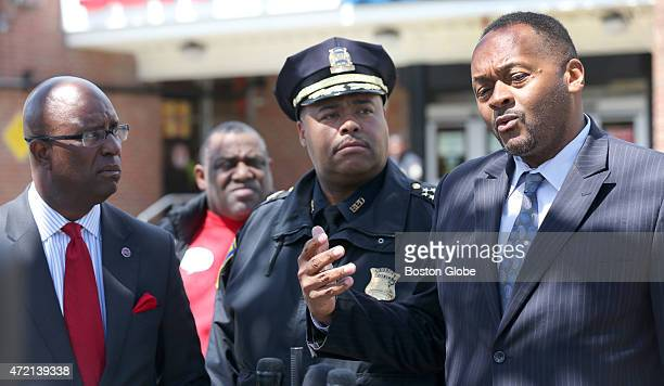 Urban League of Eastern Massachusetts President Darnell Williams left SuperintendentInChief William Gross center and NAACP president Michael Curry...
