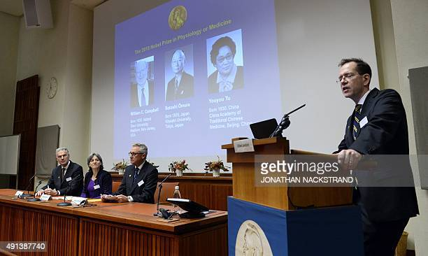 Urban Lendahl Secretary of the Nobel Committee for Physiology or Medicine addresses a press conference of the Nobel Committee to announce the winners...