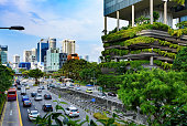 Urban life in Singapore: skyscrapers and tropical plants under deep blue sky