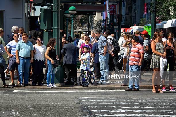 Urban Life, New York City, Pedestrians Waiting, Crossing Manhattan Intersection