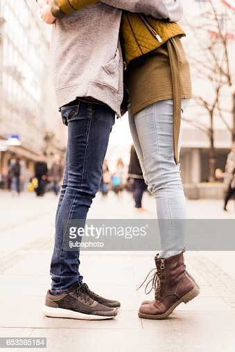 Urban love, couple kissing : Stock Photo