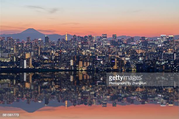 Urban reflection image at Tokyo bay at night