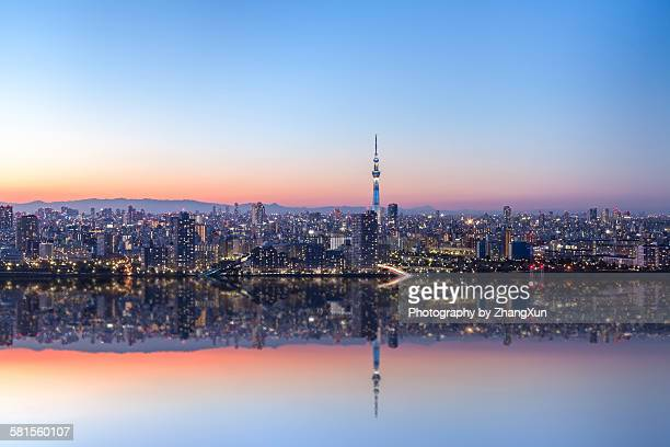Urban reflection image of Tokyo at night
