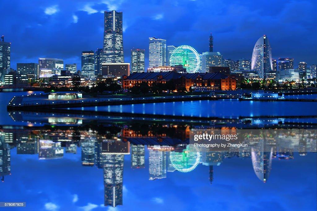 Urban reflection image of Yokohama at night