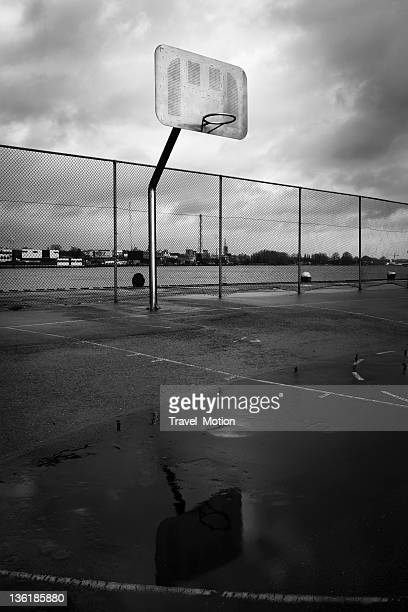 Urban scene basketball court outside, black and white