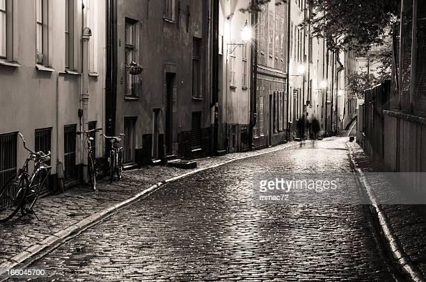 Städtisches Motiv in der Nacht in Stockholm