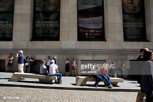 NYC Urban Scene, People along Broad Street, Lower Manhattan