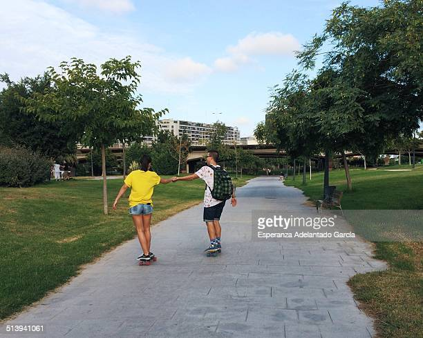 Urban skateboarders in the park