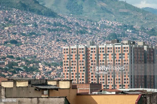 Urban skyline and slum areas of Medellin Colombia on 20 January 2012