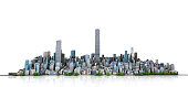 Urban skyline. View to modern city from high-rise buildings on white background. 3d illustration