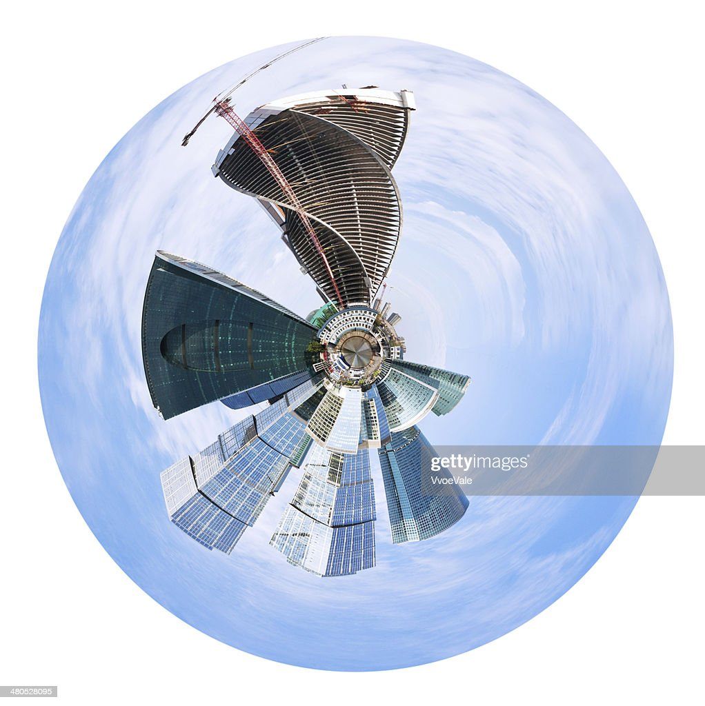 urban spherical panorama of Moscow city buildings : Stock Photo