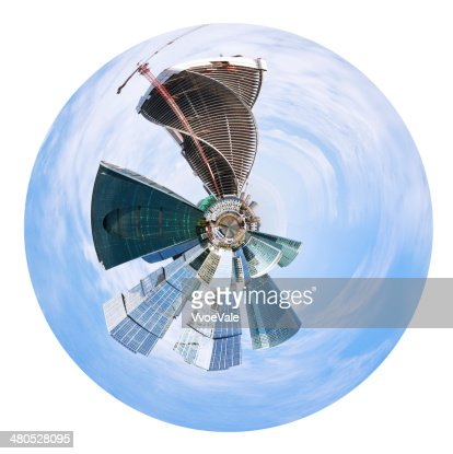 urban spherical panorama of Moscow city buildings : Stockfoto
