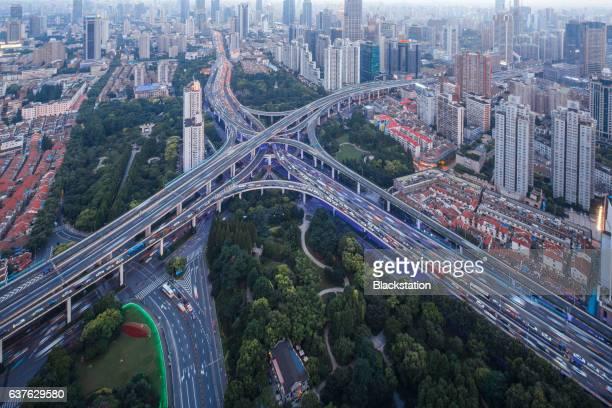 urban traffic arterial in Shanghai