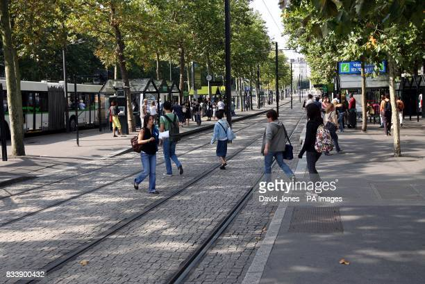 Urban tram system in the Cours Franklin Roosevelt Nantes in western France
