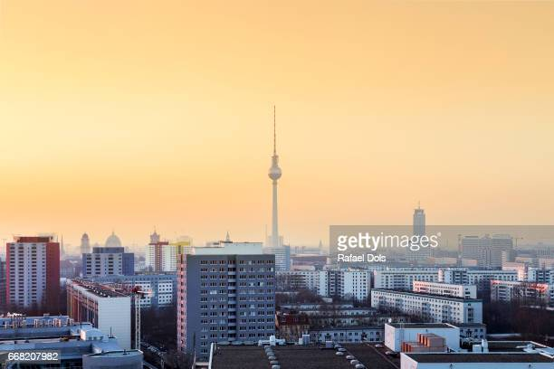 Urban view of Berlin at sunset
