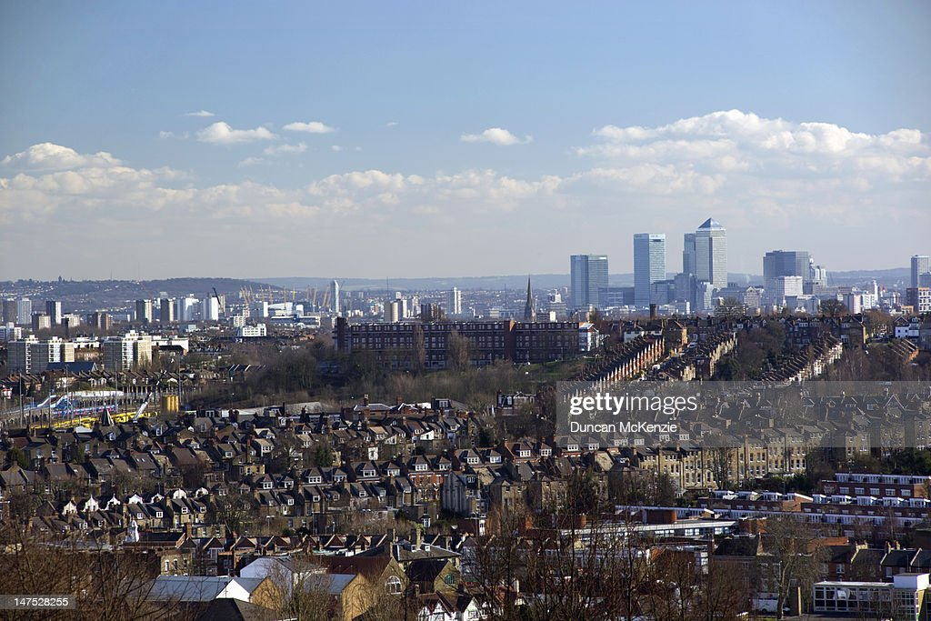 Urban view of London from Alexandra Palace : Stock Photo