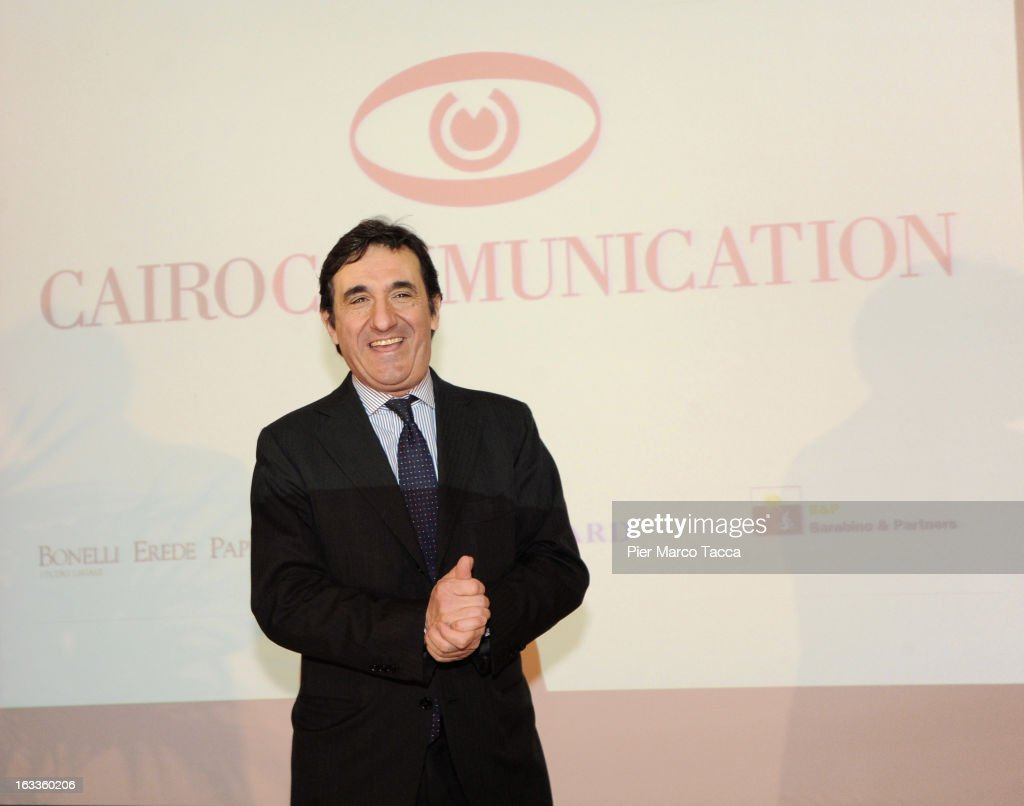Urbano Cairo attends a press conference about acquiring La 7 television channel at Four Seasons Hotel on March 8, 2013 in Milan, Italy. Urbano Cairo, president of Cairo Comunication, has purchased the television channel La7 said at the press conference that none of the channel's 470 jobs were currently at risk and added that he would have a new business plan ready 'by June'.