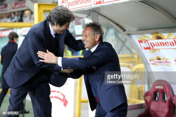 Urbano Cairo chairman of Torino FC and Sinisa Mihajlovic head coach of Torino Fc before the Serie A football match between Torino FC and Cagliari...