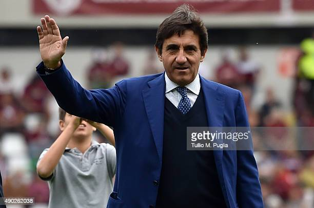 Urbano Cairo President of Torino greets Supporters during the Serie A match between Torino FC and US Citta di Palermo at Stadio Olimpico di Torino on...